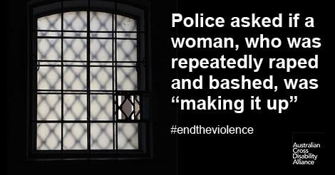 "A dark room with a large window in it. The window has bars on it and is open only slightly. There is white text over the top of the image that says: Police asked if a woman, who was repeatedly raped and bashed, was ""making it up"" #endtheviolence. The ACDA logo is in the bottom right hand corner of the photo."