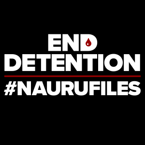 A black background with large white sans-serif type overlaid. The text reads END DETENTION #NAURUFILES. A blood red line divides the lines of text. A red tear drop replaces the counter in the word END.