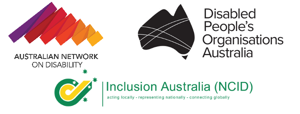 Logos. Australian Network on Disability; Disabled People's Organisations Australia; Inclusion Australia
