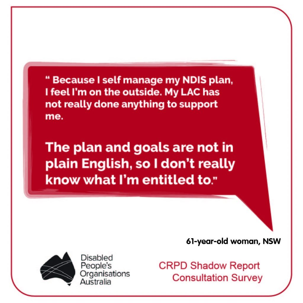 """"""" Because I self manage my NDIS plan, I feel I'm on the outside. My LAC has not really done anything to support me.   The plan and goals are not in plain English, so I don't really know what I'm entitled to."""" 61-year-old woman, NSW"""