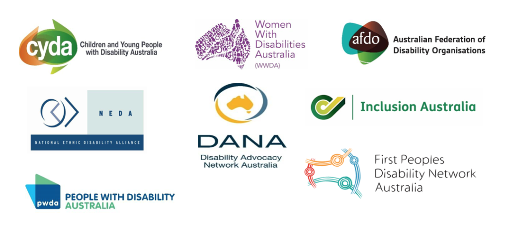 Logos for the Australian Federation of Disability Organisations, Children and Young People with Disability Australia, the Disability Advocacy Network Australia, the First Peoples Disability Network, Inclusion Australiathe National Ethnic Disability Council, People with Disability Australia, and Women with Disabilities Australia.