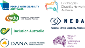 Logos for: Children and Young People with Disability Australia Disability Advocacy Network Australia First Peoples Disability Network Inclusion Australia National Ethnic Disability Alliance People with Disability Australia Women with Disabilities Australia